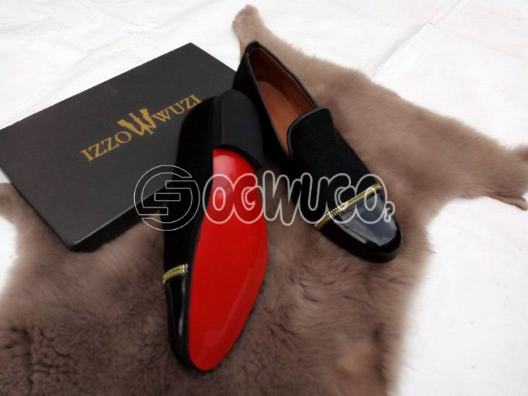 Izzowuzi men's special casual wear; made with BLACK patent leather and suede.: unable to load image