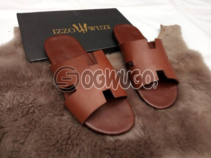 Izzowuzi special men's brown EAZY flip flops; made with strong leather material.: unable to load image