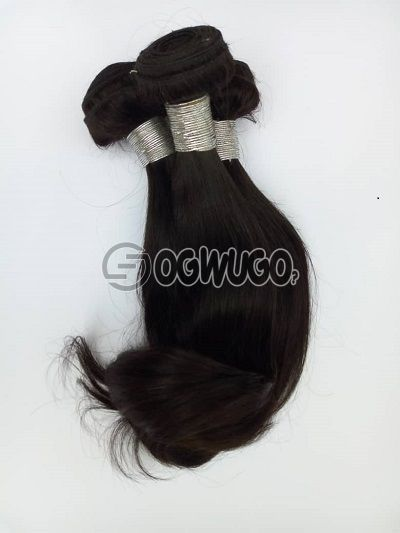 12 inches silky straight Indian Virgin hair with curl at the tipColour black 300gramNo shedding No tangling : unable to load image