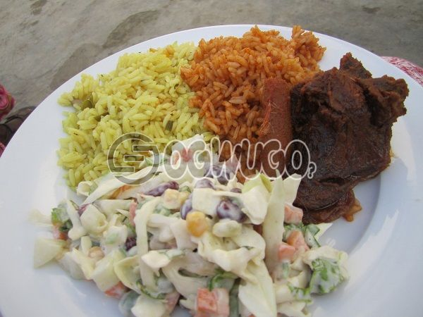 Jollof rice, Salad with two Beef.......Absolutly delicious....Place your order and we would get it delivered directly to your doorstep