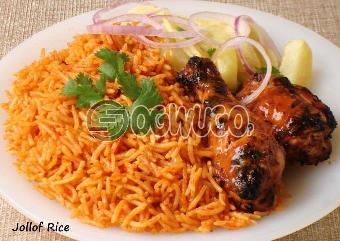 Jollof rice and two medium size chicken, this meal is hot and very delicious. Order now and we deliver to you.