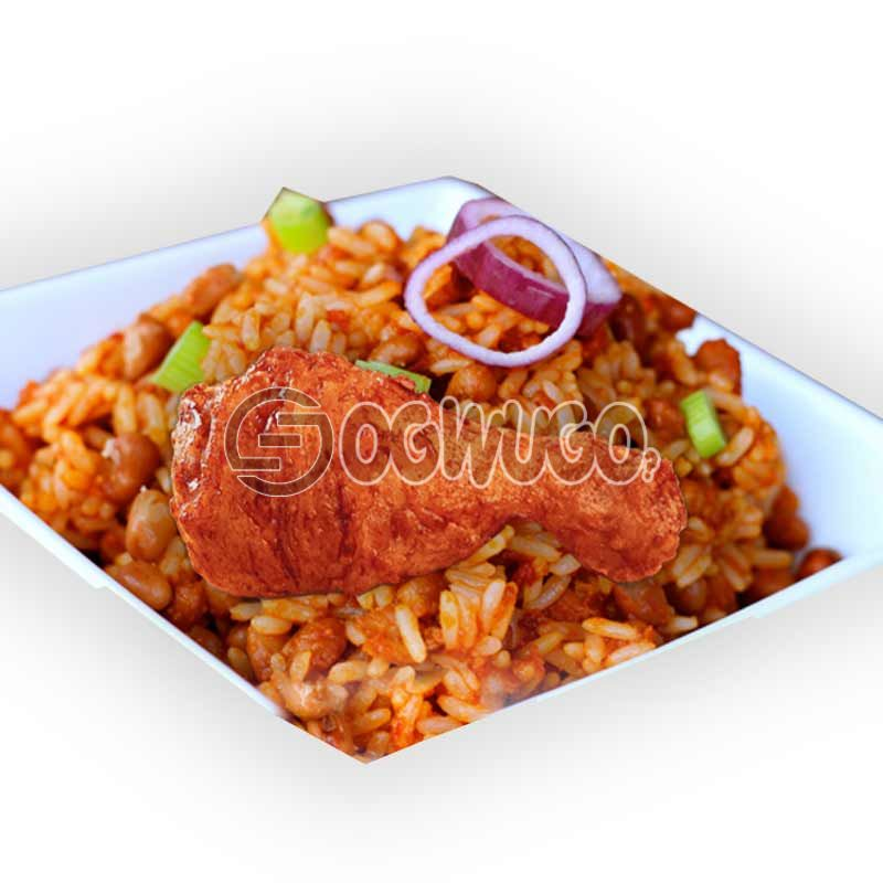 Chicken with Jollof rice and beans. This is an African delicacy which is served hot for your delight: unable to load image