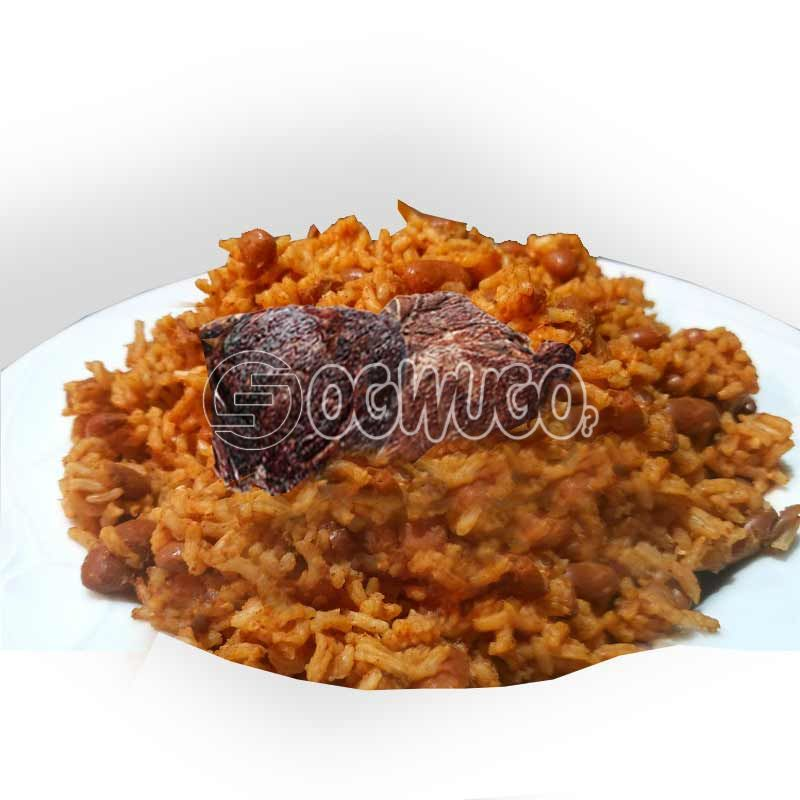 Jollof rice and beans with two big beef. This meal is very delicious.