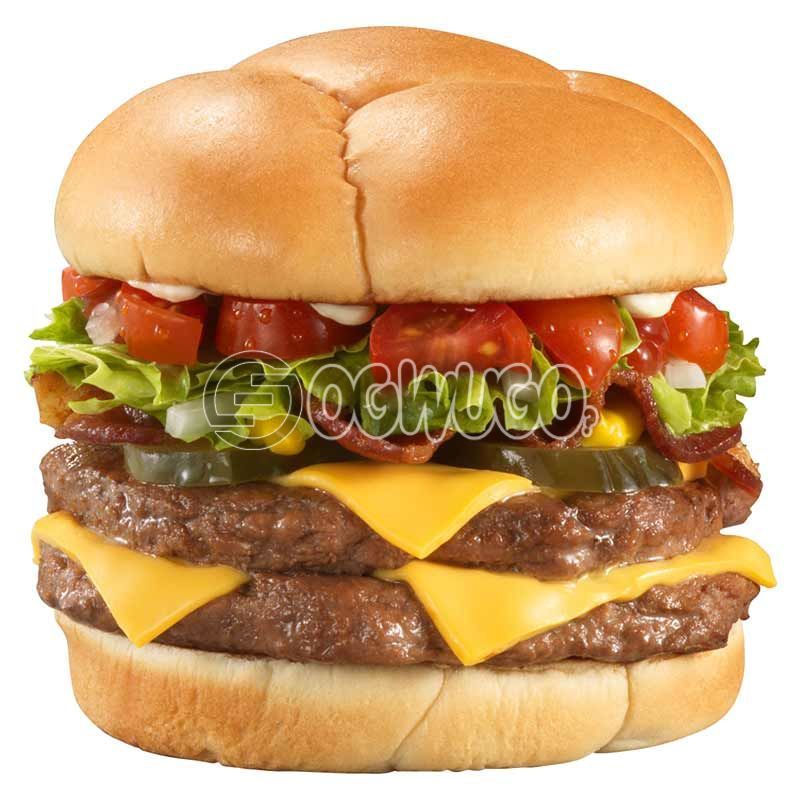Grilled DOUBLE BEEF-CHEESE Hamburger, made with fresh tomatoes, lettuce, cucumber and melted cheese.