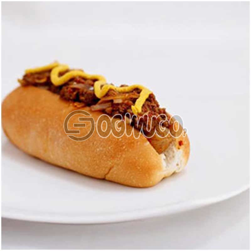 Diced CHICKEN hotdog, contains fresh tomatoes, cucumber and lettuce, spring onions and topped with mustard.
