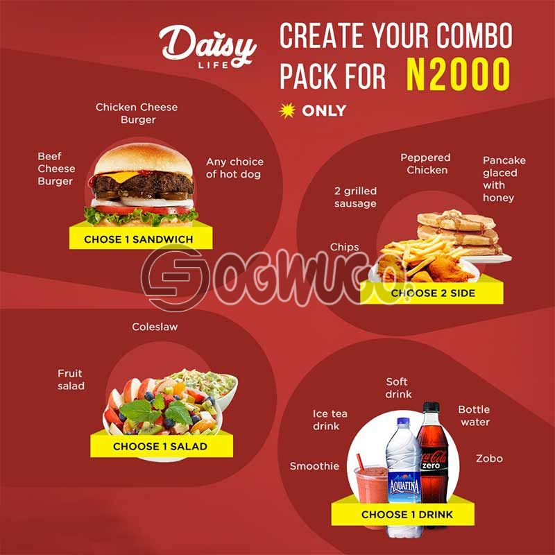Daisy Life Combo Pack Promo; Select any item from the four categories.