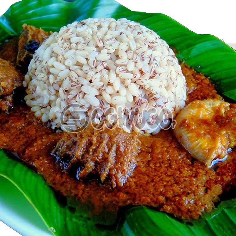 Crunchies Ofada Rice with diced meat.