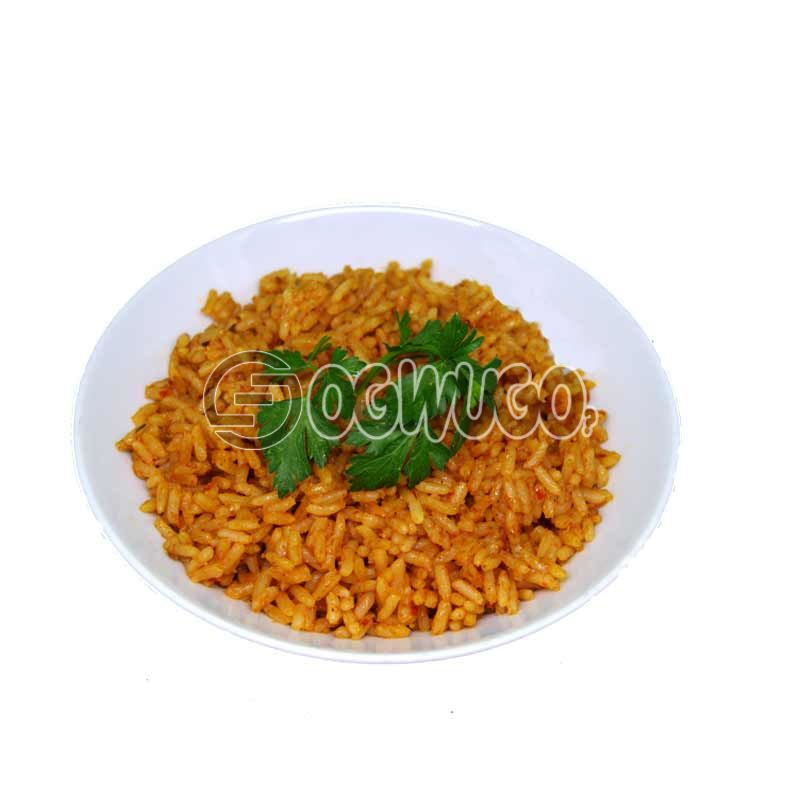 Crunchies deliciously prepared Fried rice, Jellof rice, Spicey rice, Coconut or White Rice.