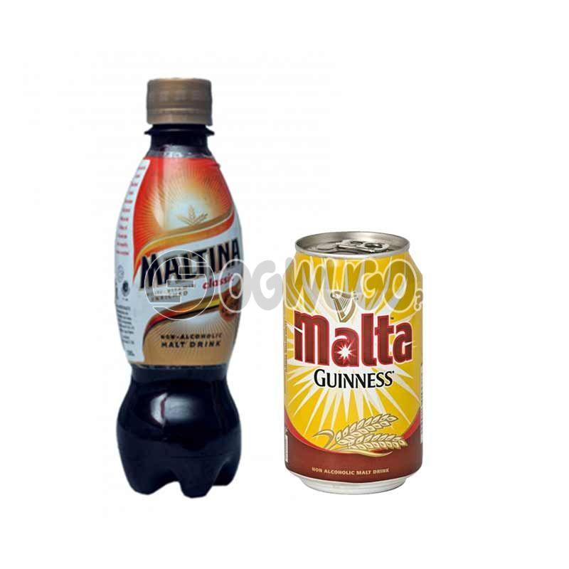 Chilled can or pet Malt drink.