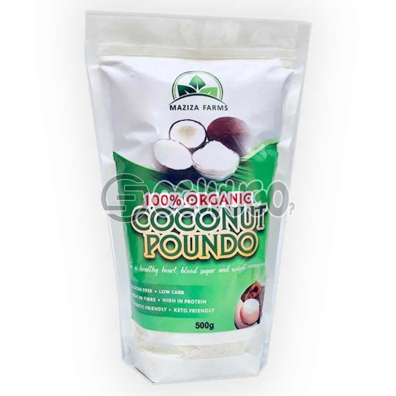 100% MAZIZA ORGANIC COCONUT POUNDO 50Og... LOW CARBOHYDRATE, HIGH IN PROTEIN AND KETO FRIENDLY.