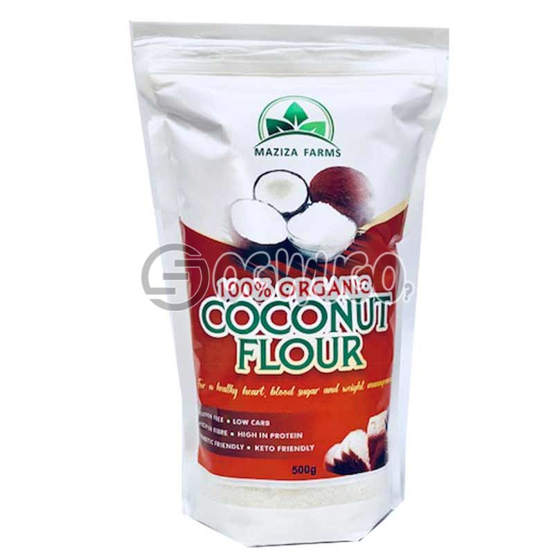 100% MAZIZA ORGANIC COCONUT FLOUR 500g... LOW CARBOHYDRATE, RICH IN PROTEIN AND KETO FRIENDLY.