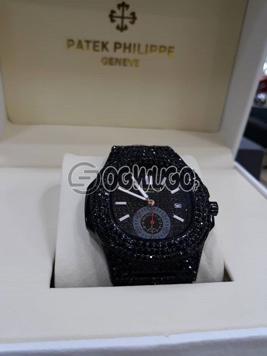 VERY AFFORDABLE PATEK PHILIPPE  WATCH WITH ATTRACTIVE ICE AVAILABLE IN DIFFERENT COLOURS,BLACK ROSE GOLD,YELLOW GOLD,SILVER