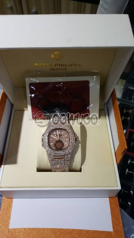 VERY AFFORDABLE PATEK PHILIPPE  WATCH WITH ATTRACTIVE ICE AVAILABLE IN DIFFERENT COLOURS,BLACK ROSE GOLD,YELLOW GOLD,SILVER: unable to load image