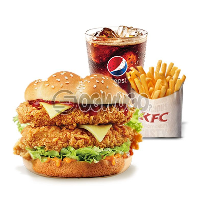 Double zinger Burger, regular Chips and 35cl Pepsi: unable to load image