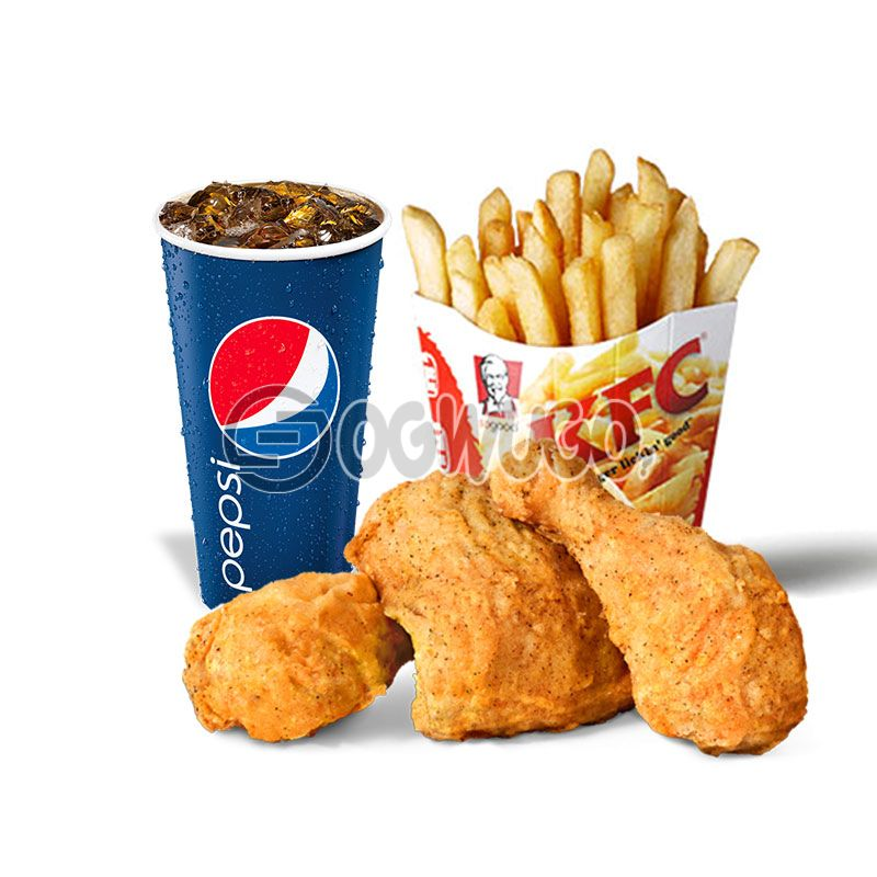 Streetwise Three: Spicy Rice or Regular Chips, 3piece Chicken and 35cl Pepsi
