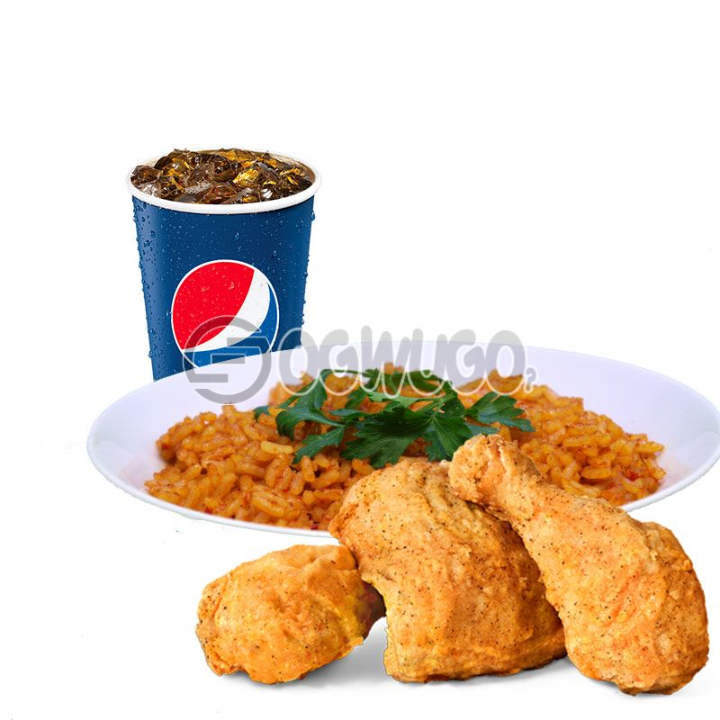 Streetwise Three: Spicy Rice or Regular Chips, 3piece Chicken and 35cl Pepsi: unable to load image