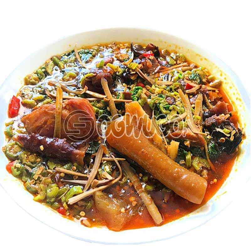 Ukpaka or Owerri Okro Soup with two big swallow and bottle water. This meal is very delicious and can be eaten with either semo, garri, wheat or fufu. please select your swallow type.