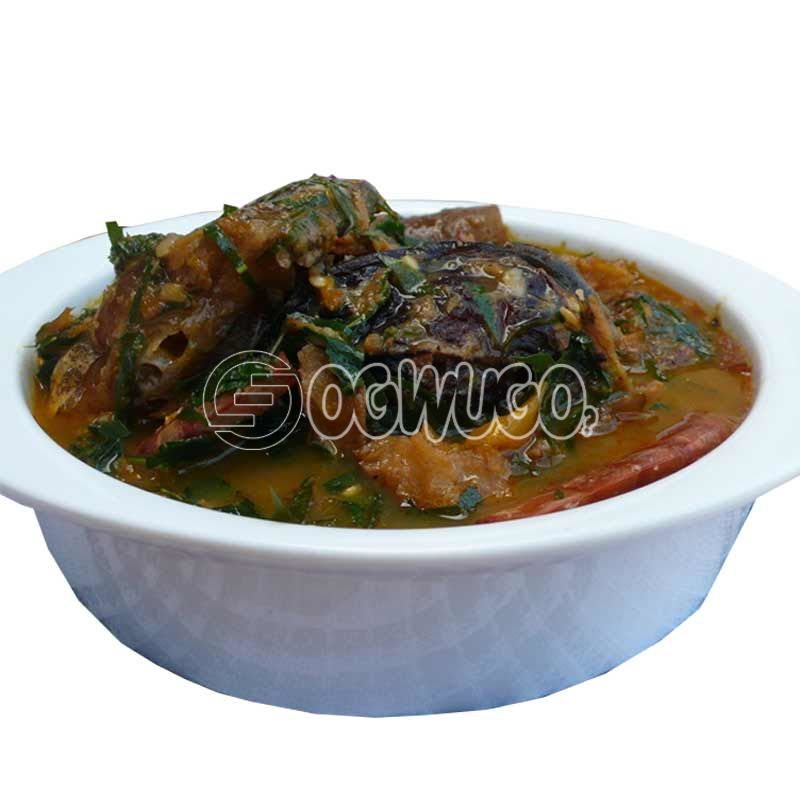 Ukpaka or Owerri Okro Soup with two big swallow and bottle water. This meal is very delicious and can be eaten with either semo, garri, wheat or fufu. please select your swallow type.: unable to load image