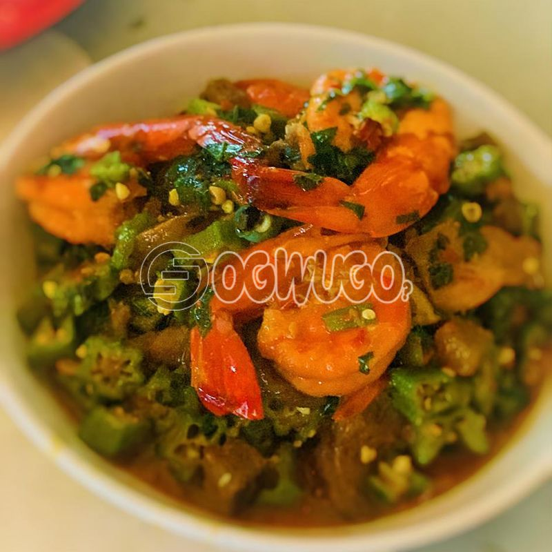 Seafood Okro Soup... Made with goat meat, beef, cowleg or assorted.