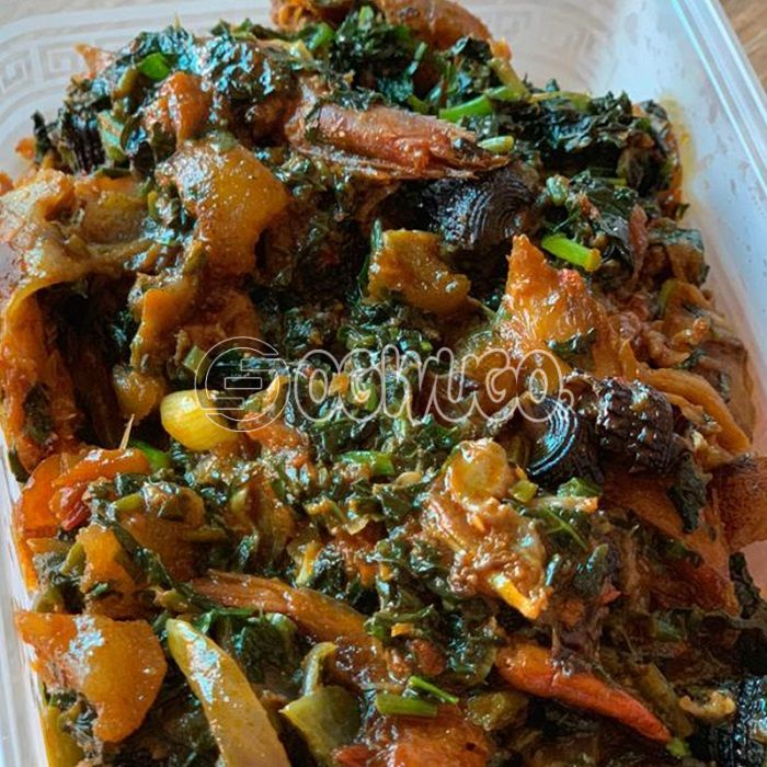 Edikaikang Soup... Made with goat meat, beef, cowleg or assorted.: unable to load image