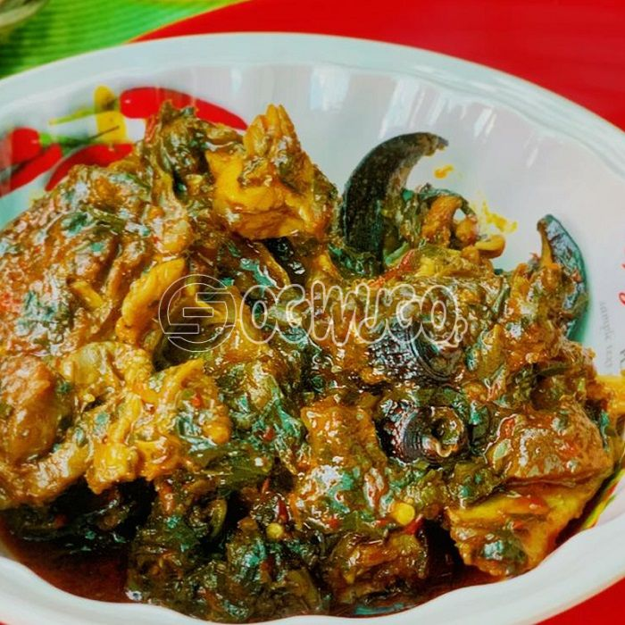 Afang Soup... Made with goat meat, beef, cowleg or assorted.