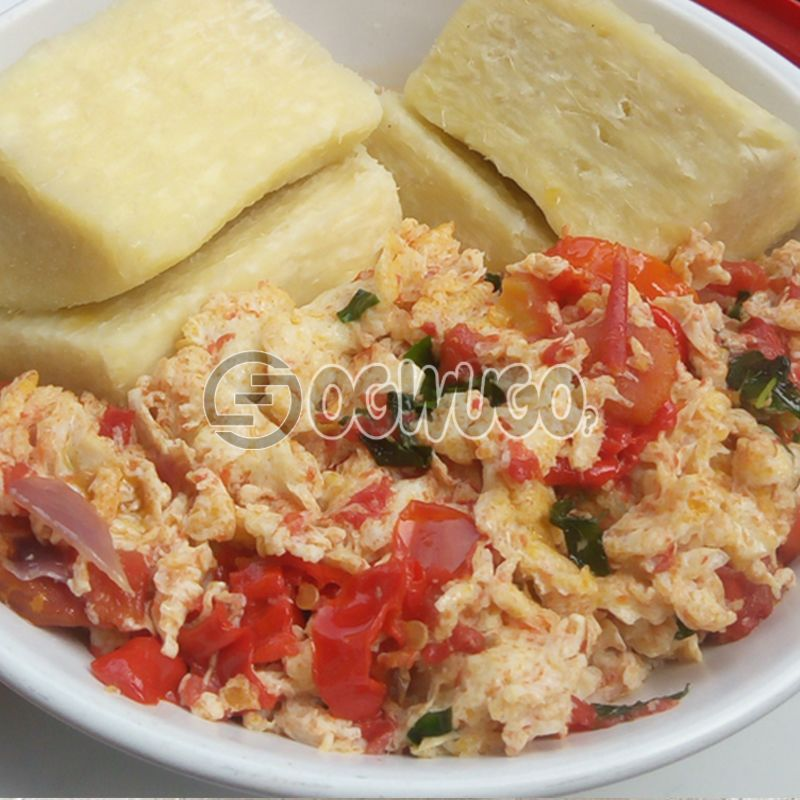 Boiled Yam and Egg Sauce : unable to load image