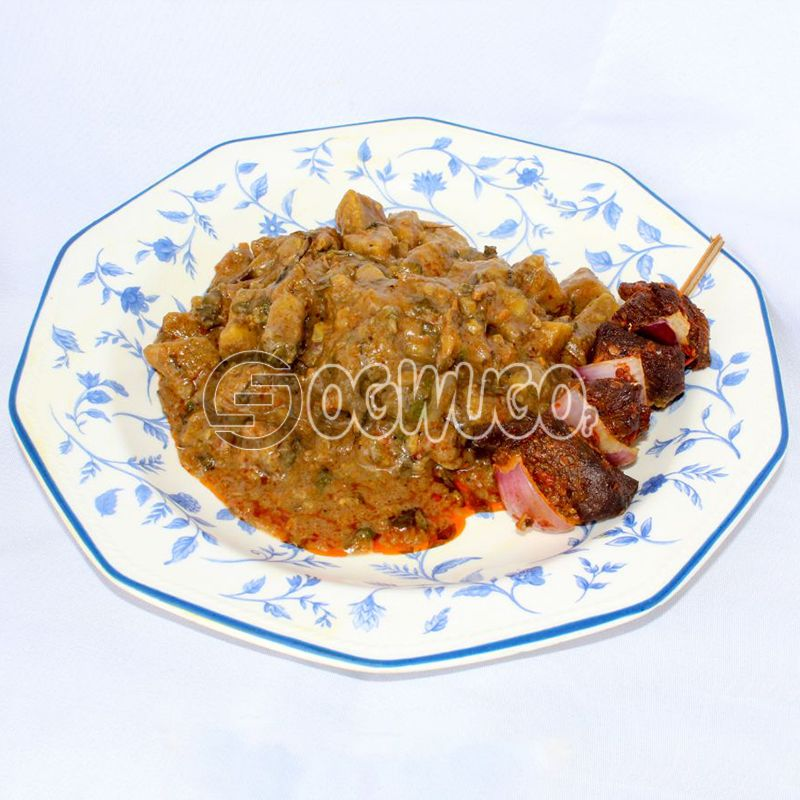 Unripe Plantain Pottage & Beef Kebab : unable to load image