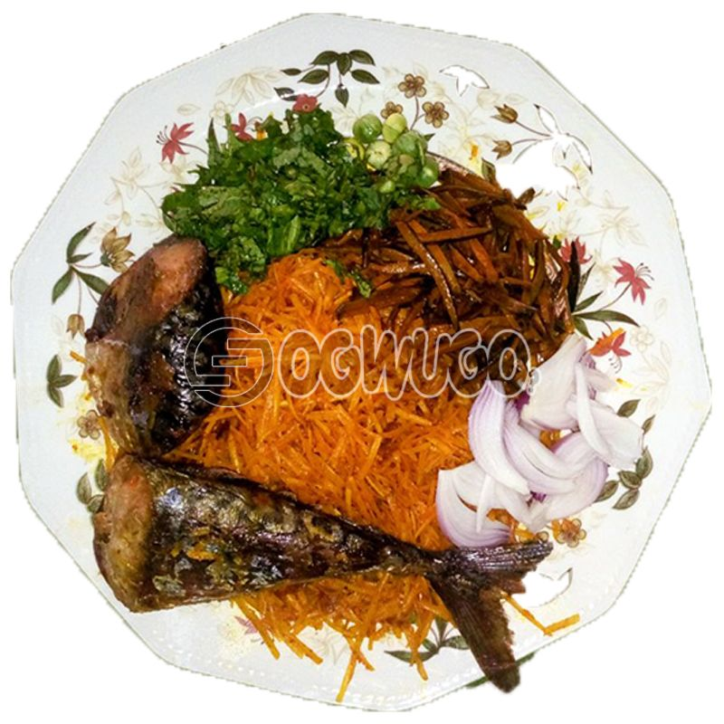 Abacha na Ugba with Barbeque Fish: unable to load image