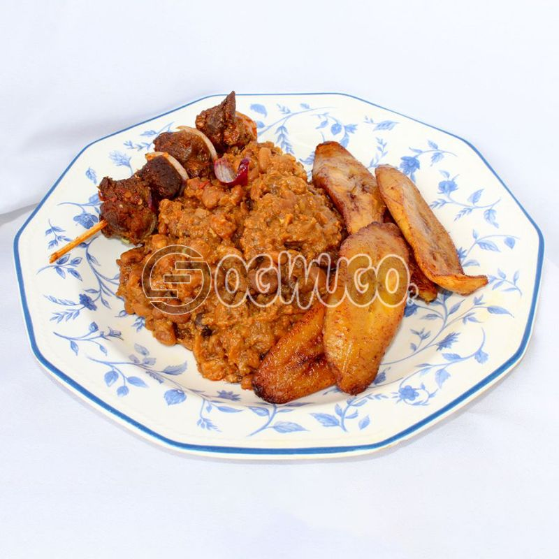 Beans Pottage, Fried Plantain & Beef Kebab: unable to load image
