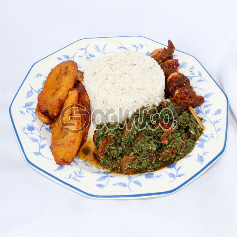 Local White Rice with Vegetable/Tomato Stew, Fried Plantain and Beef Kebab : unable to load image