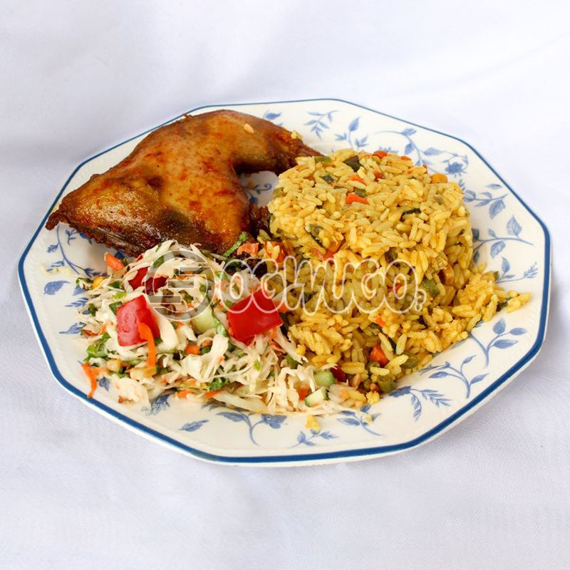 Chitis Special Fried Rice or Jollof Rice with 1/4 Tasty Chicken and Coleslaw: unable to load image