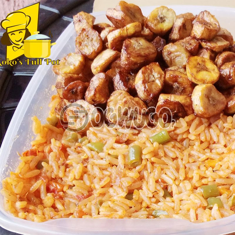 Jollof rice and chicken with plantain (2.5liters): unable to load image