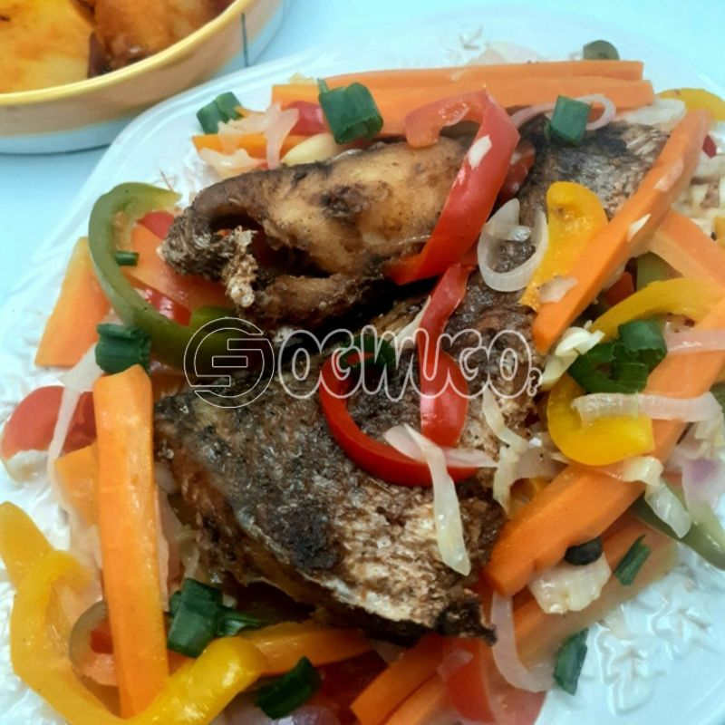 Escovitch Fish with grilled Potatoes: unable to load image