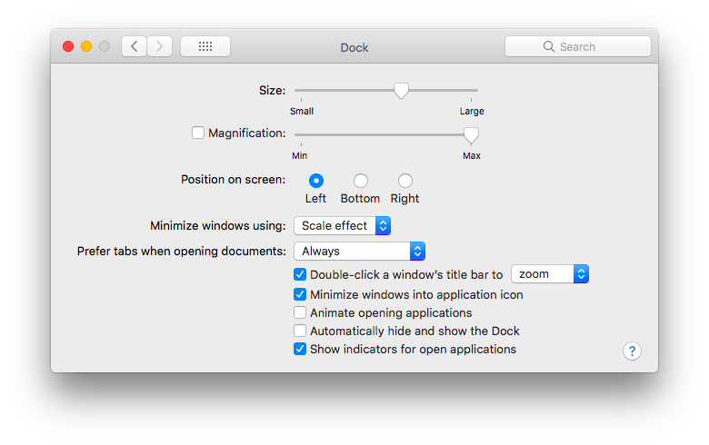 Dock settings in macOS which 'Scale effect' selected.