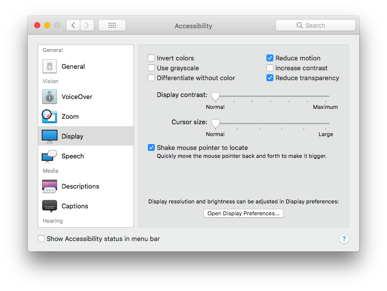 Accessibility options screenshot in macOS showing 'Reduce motion' and 'Reduce transparency' options checked.