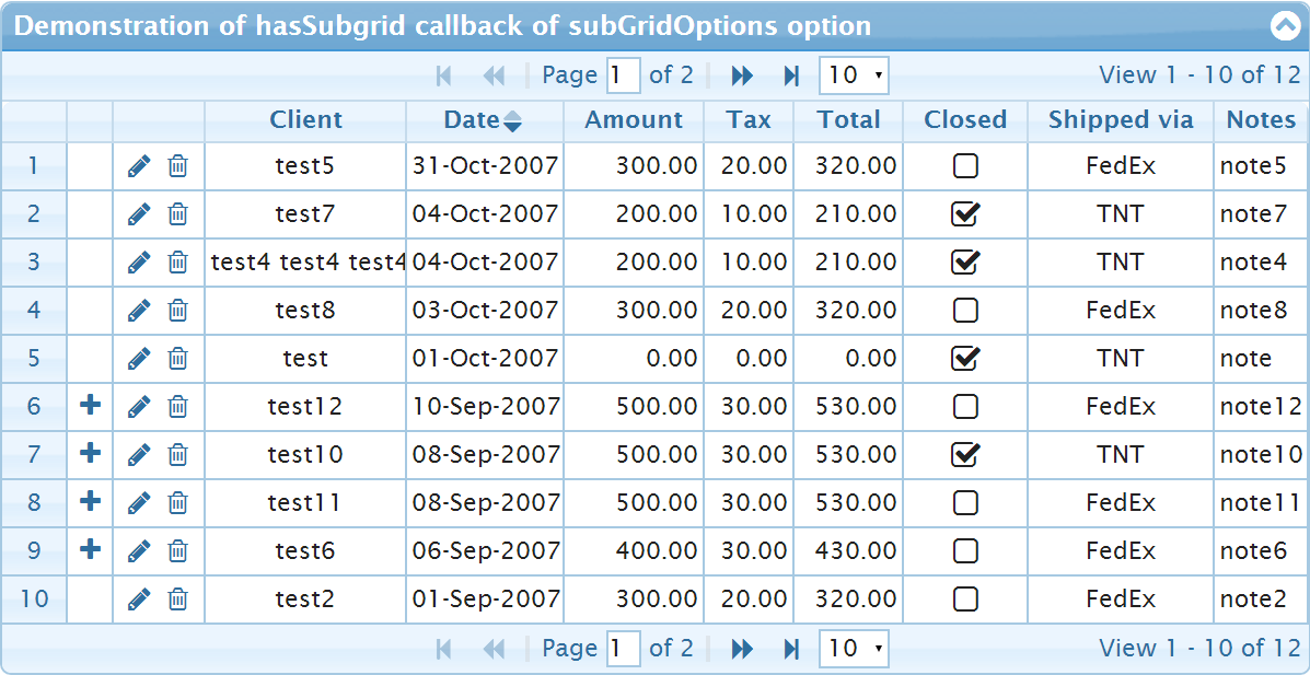 Usage of hasSubgrid callback of subGridOptions
