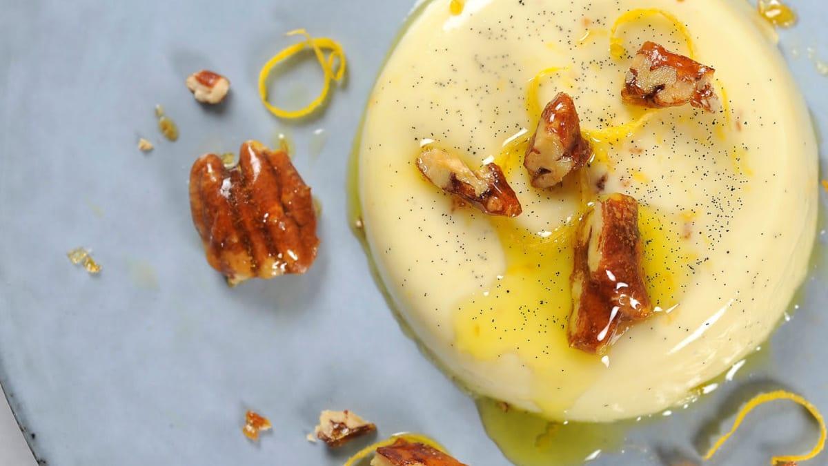 Panna cotta med sitron og olivenolje
