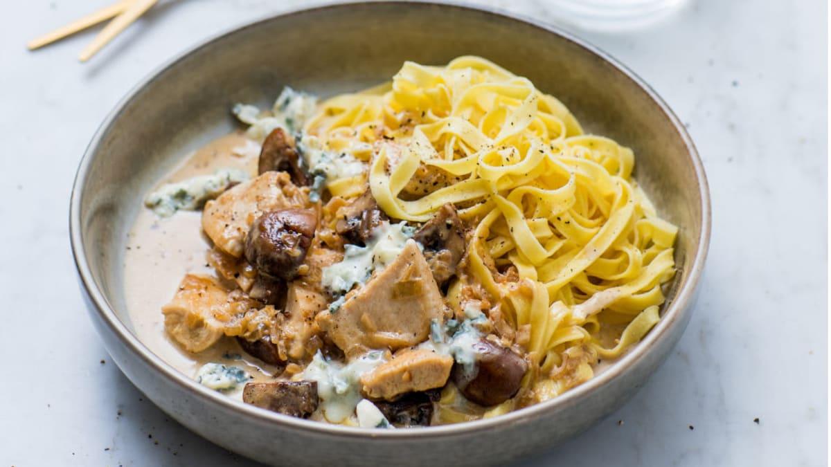Pasta med  Saint Agur og sopp