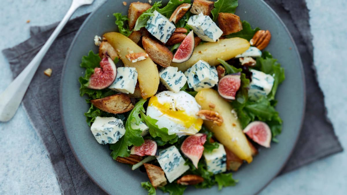 Saint Agur salat med pære og fiken