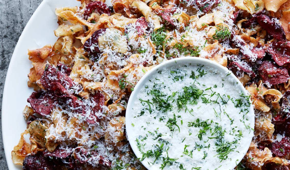 Rotgrønnsakschips med Parmigiano Reggiano