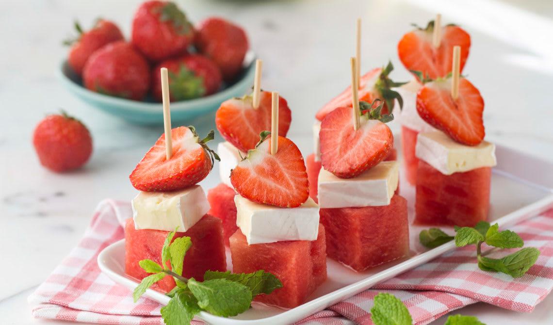 Brie- og vannmelonbiter