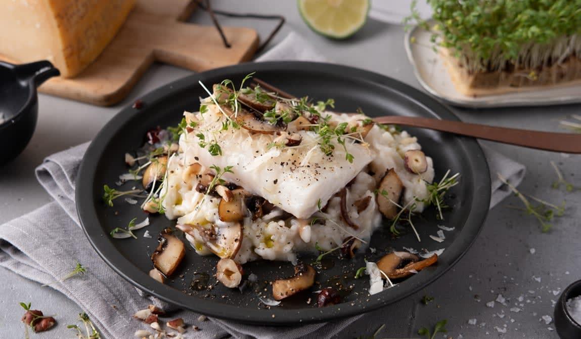 Pannestekt torsk med sopprisotto