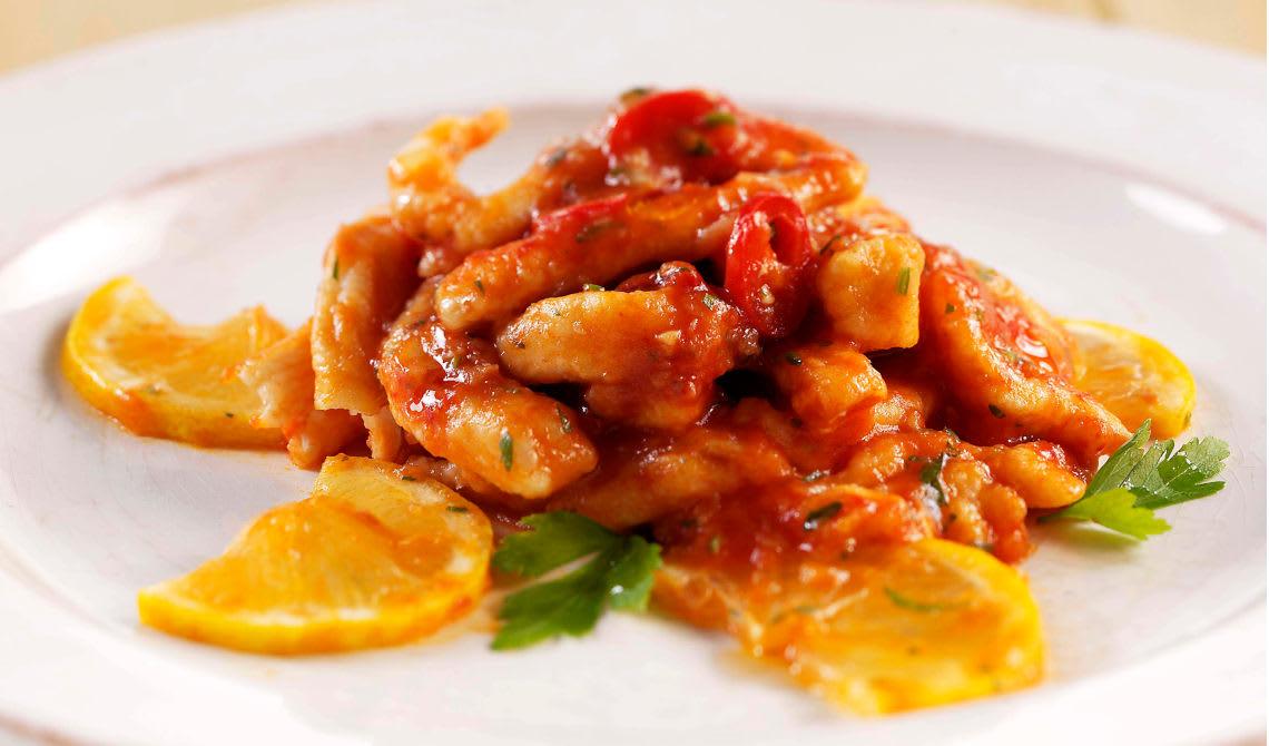 Kyllingstrimler med sitron og chili