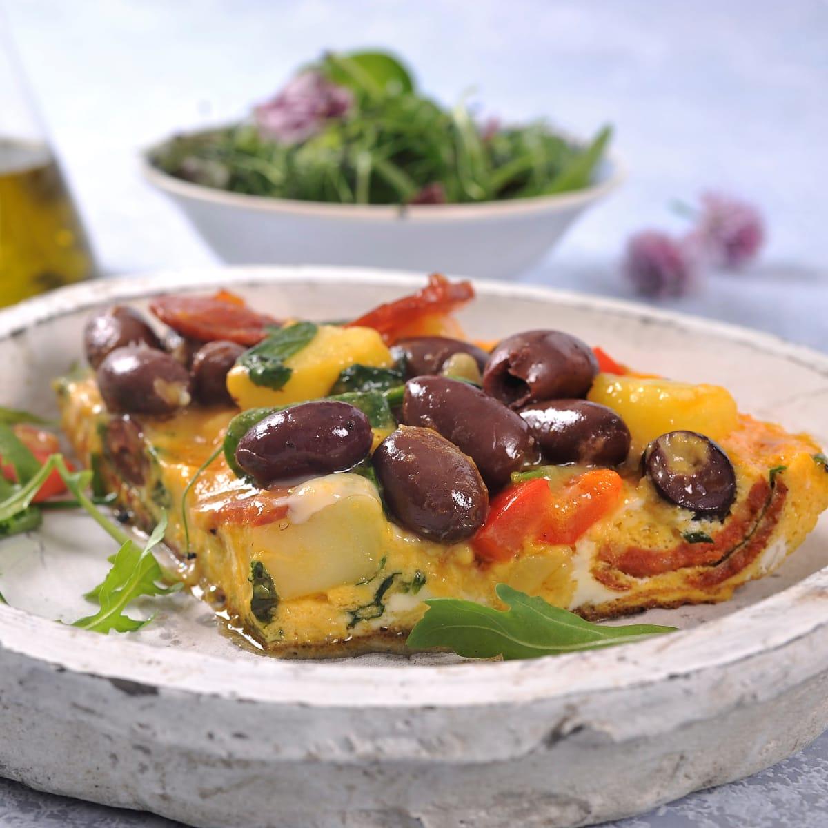 Frittata med greske oliven