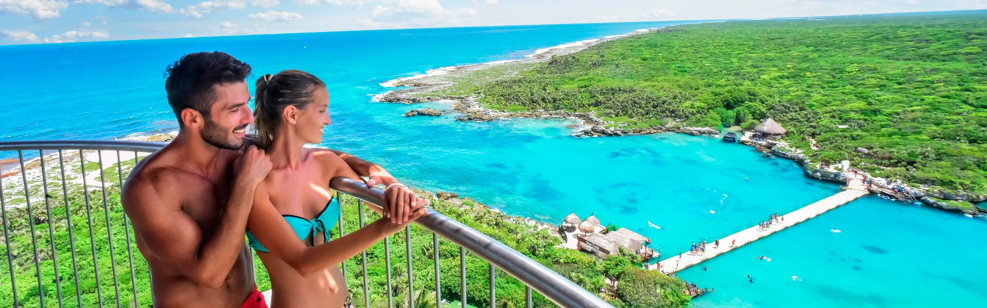 tourist enjoying the beach in the Mexican Caribbean