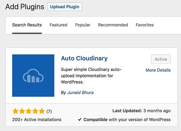 Upload Auto Cloudinary Plugin.