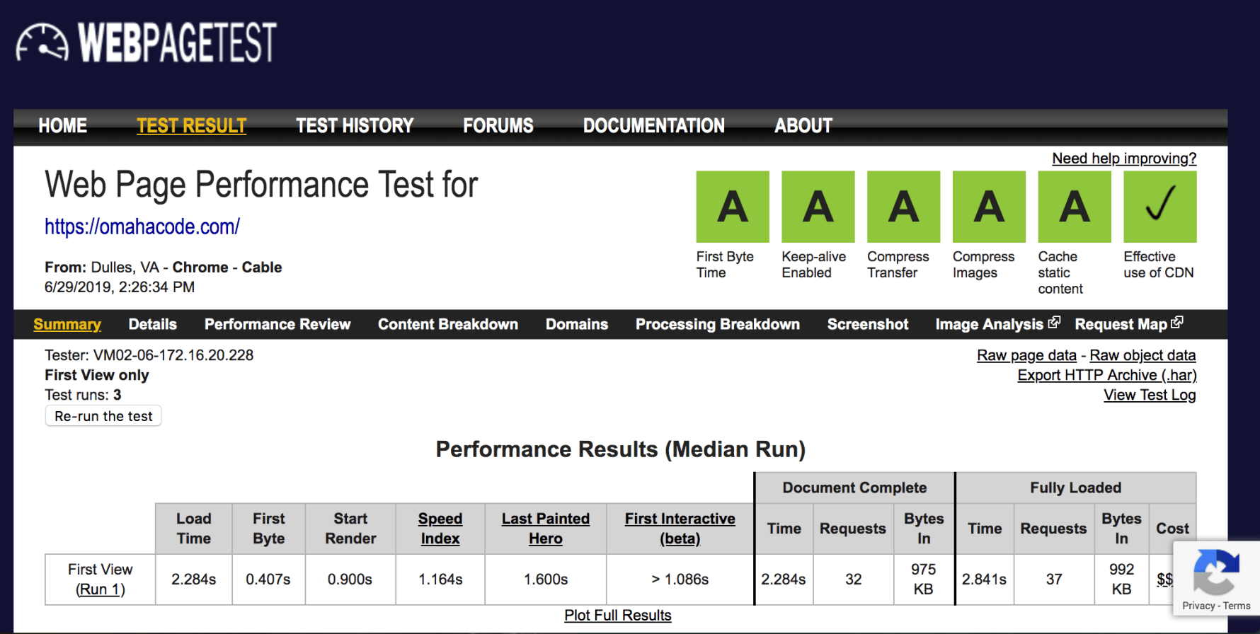 Web Page Performance Test - Omaha Code.
