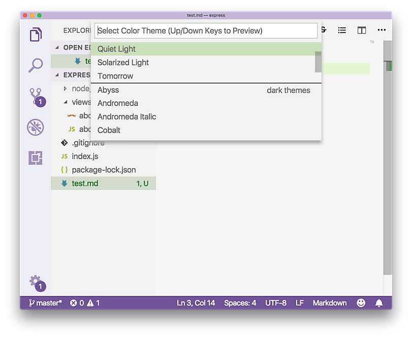Light Theme Visual Studio
