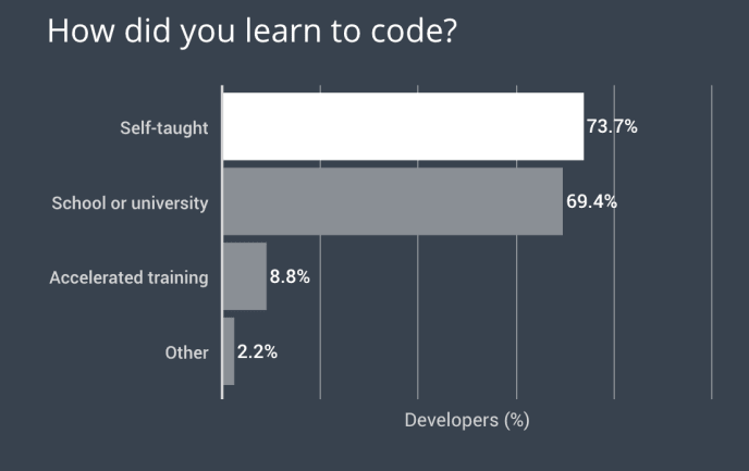 2018 Developer Skills - when developers learned to code.