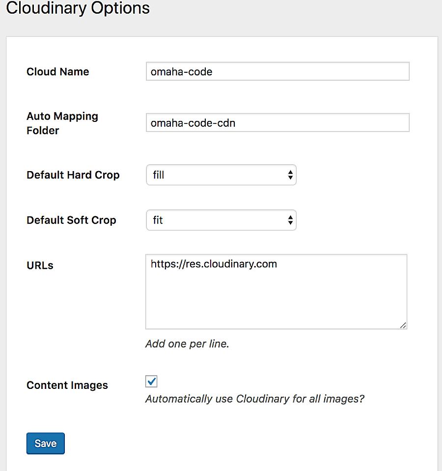 Image CDN Configuration.